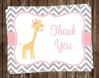 Giraffe, Thank You Cards, Baby shower, Birthday, Chevron Stripes, Pink, Girls, Gray, Gentle, Grey, Sprinkle, 24 Cards, FREE Shipping, CHGPK