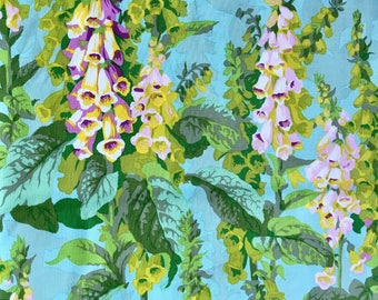 Philip Jacobs, OOP, rare, original Foxgloves, spring, Kaffe Fassett collective floral fabric, by the yard