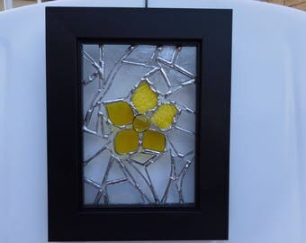 Stained Glass Panel with Frame-Forget Me Not-Unique Gifts-Glass Art-Birthday-Housewarming-Anniversary-Wedding-Christmas-Gift for her or him
