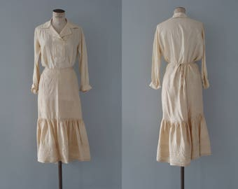 Hannah dress set   antique ivory silk blouse and cotton skirt summer set   1910's by cubevintage   medium