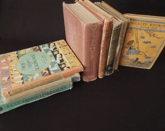 Books by the Foot Vintage - School Readers Text Books - Rustic Worn Decorative Book Stack
