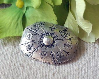 Vintage Silver Brooch Swedish Upsala - Silver Hantverk Nordic Brooch ca1950s