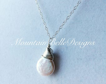 Handmade Sterling Silver Freshwater Coin Pearl Necklace - Handmade Pearl Necklace - Wedding Jewelry - Bridesmaid Necklace - Bridal Jewelry