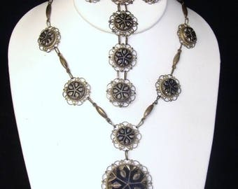 CIJ SALE Christmas JULY Stunning  Jalisco Sterling  Silver Vintage Necklace Bracelet Earrings Set Signed