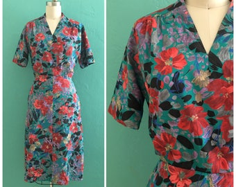 50'S bold floral dress // floral print summer dress ~ small medium