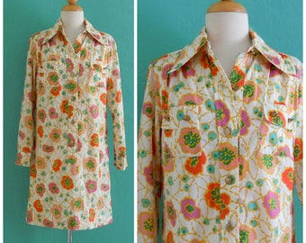 vintage 70's poppy print cotton shirt dress ~ small medium