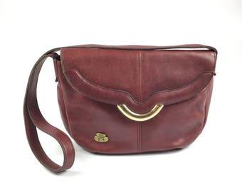 Vintage Etienne Aigner Handmade Oxblood Red Leather Purse Bag