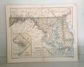 c. 1893 MARYLAND & DELAWARE MAP - antique lithograph - United States of America - U.S.A. - old state map - state maps - Mid Atlantic