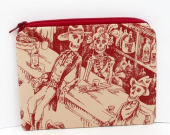 Zipper Pouch Small, Western Skeleton Toile Bag, Deadwood Saloon in Red, Skulls, Alexander Henry Fabric