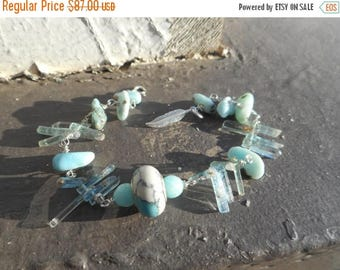 The North River Bracelet. Amazonite Blue Tourmaline Crystal Shards and Larimar gemstone Sterling Silver bracelet Feather
