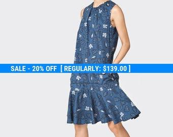 Dark blue floral Drop dress - sleeveless dress- frill mini dress- loose tunic- cotton dress- loose top - sexy dress- oversize dress