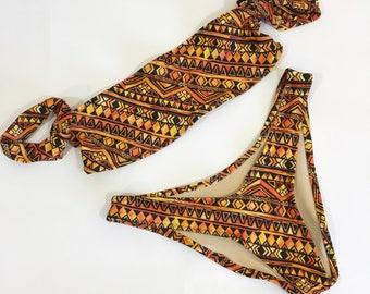 Sleeve bandeau copper print bikini
