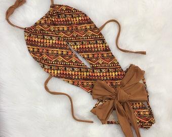 Copper One piece wrap swimsuit