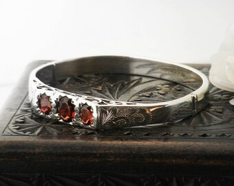 Vintage Sterling Silver Silver Bangle | Triple Garnet Bangle Silver | Hinged Silver Bracelet | Mid Century Jewelry - 6.5 inch Wrist Size