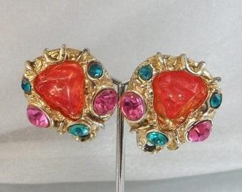 SALE Vintage Peach Pink Aqua Rhinestone Nugget Earrings.  Fancy Easter Earrings.