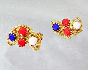 SALE Vintage Hobe Red White Blue Rhinestone Earrings.  Hobe Patriotic USA Earrings.