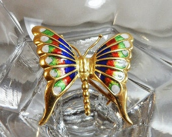 SALE Vintage 18k Gold Butterfly Brooch. Italy. Unoaerre Enamel Gold Butterfly Pin.