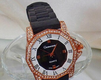 SALE Vintage Copper Rhinestone Watch. Geneva.  Women's Watch. Black and Copper Rhinestone Watch.