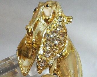 BIG SALE Vintage Hound Dog Brooch. Basset Hound Rhinestones Pin. Puppy. Pup.