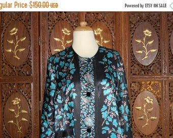 ON SALE Vintage 1950s Blue Floral Evening Coat with Jet Buttons