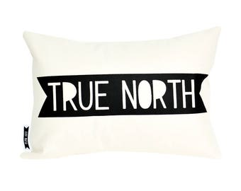 Black and white pillow, nautical pillow, nautical decor, decorative pillows, accent pillow cover, find your true north, nautical nursery