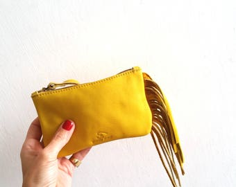Fringes yellow Leather pouch, Wallet, Small purse with Fringes