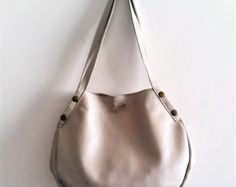 OnSALE Leather tote - Every day bag - Women bag- Ivory silver