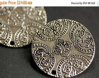 SUMMER SALE Two (2) Norse Shoulder Brooches. Silver Viking Brooches. Silver Apron Pins. Brocade Style Brooches. Historical Renaissance Jewel