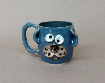 Unique Coffee Mugs. Puppy Love Cappuccino Mug. Food Microwave and Dishwasher Safe Blue Everyday Tea Mug. Nelson Ug-Chug Mugs. 16 Ounces