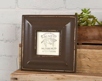 4x4 Picture Frame in Classy Style with Vintage Chocolate Finish - IN STOCK - Same Day Shipping - 4 x 4 Square Photo Frame Brown