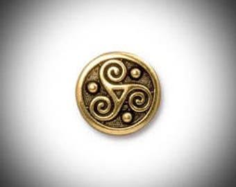 Gold Triskelion Lapel Pin Celtic Boutonniere Triskele Tie Tack, Irish Jewelry Brooch Groomsmen Gift Celtic Jewelry Outlander Lapel Pin