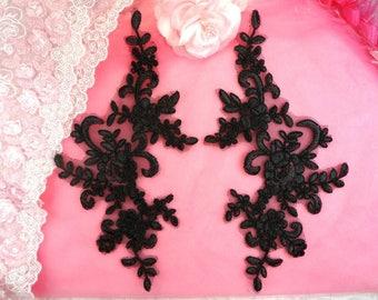 "Appliques Black Venice Lace Embroidered Floral Mirror Pair Costume Motifs DIY 9.5"" (DH108X-bk)"