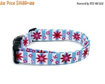 ON SALE Cute Pink Folk Flowers on Blue and White Stripes Floral Dog Collar