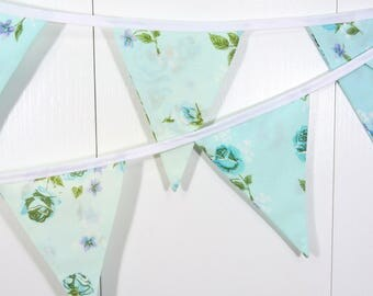 Blue Flower Bunting Flags / Baby Bunting Flags /Cottage Flower Pennant Flags