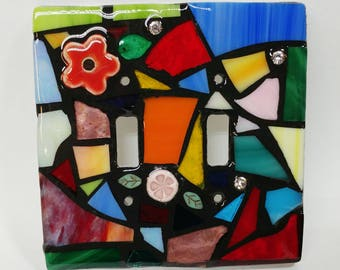 RAINBOW mix - STAINED Glass MOSAIC Light Switch Cover - single, double, triple, outlet, or decora gfci - made to order