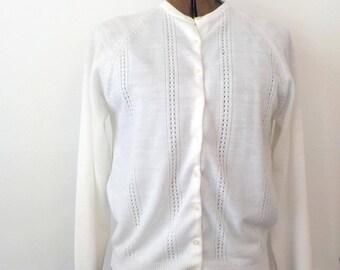 Vintage White Cardigan Sweater • Vintage Acrylic Sweater • Vintage Made in Republic of Korea Sweater