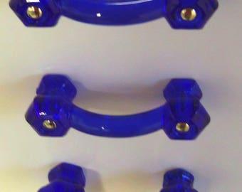 "20 Pack SALE Drawer Pulls Glass Handles Cobalt Blue Glass 3"" Centers"