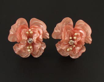 West Germany Plastic Earrings, Pink Earrings, West German Jewelry, Large Earrings, Statement Earrings, Plastic Jewelry