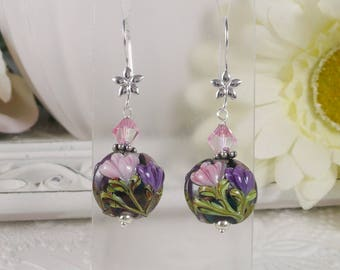 Lamp Work Earrings Pink Floral and Silver Gifts for Her