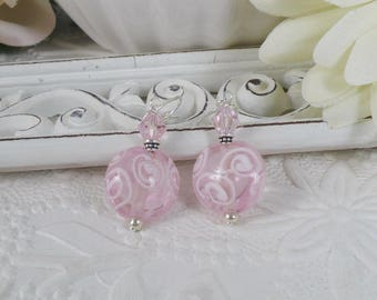 Lamp Work Earrings Pink with White Swirls Gifts for Her