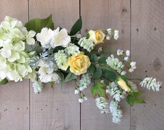 Floral Swag / Yellow Rose Pastel Green Swag / Hydrangea Swag / Mothers Day Gift / Gift For Her / Floral Wall Decor
