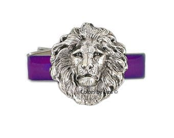 Lion Head Tie Clip Antique Silver Inlaid in Hand Painted Purple Opaque Enamel Neo Classic Inspired wih Cufflink and Tie Pin Set Options