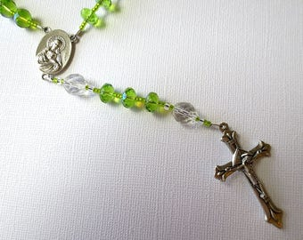 August Birthstone Rosary, Light Green Peridot colored Rosary with Scapular Medal Center