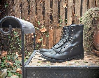 Black Leather Packer Cowboy Boots Men's Size 9.5 D, Mens Lace Up Boots, Logger Boots