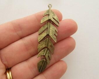 4 Feather pendants antique bronze tone BC105
