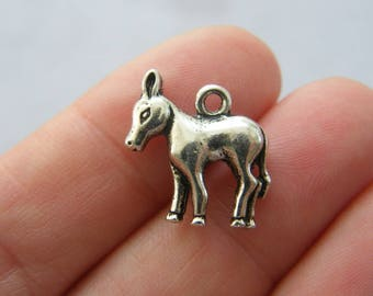6 Donkey charms antique silver tone A684