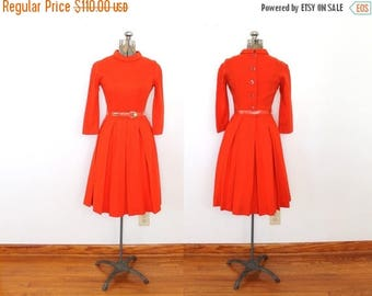 ON SALE 60s 50s Dress / 1950s 1960s Red Wool Button Back Dress