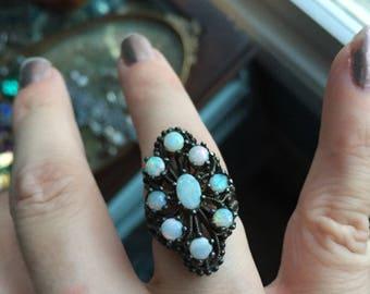 Opal Cluster Ring - Sterling Silver - Vintage