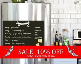 Summer Sale - Meal Planner Chalkboard Decal, Meal Plan Decal, Menu Decal, Vinyl Wall Decal, Refrigerator Decal, Weekly Menu Planner