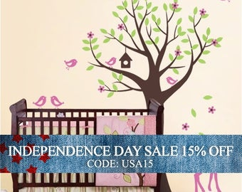 Independence Day Sale - Nursery Wall Decals - Tree with Birds and Fawn